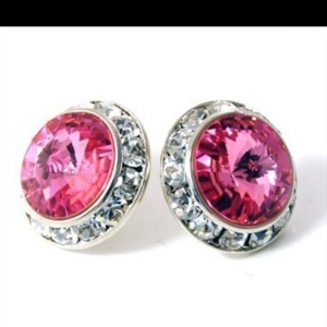 pink crystal Chanel earrings