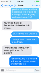 My conversation with Annie about Prison Break