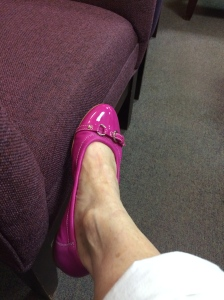 Stressed out women need new pink shoes.
